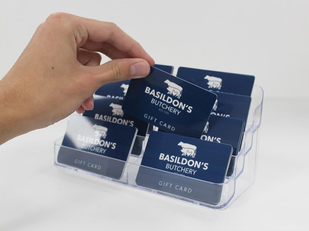 gift cards in 8 compartment display