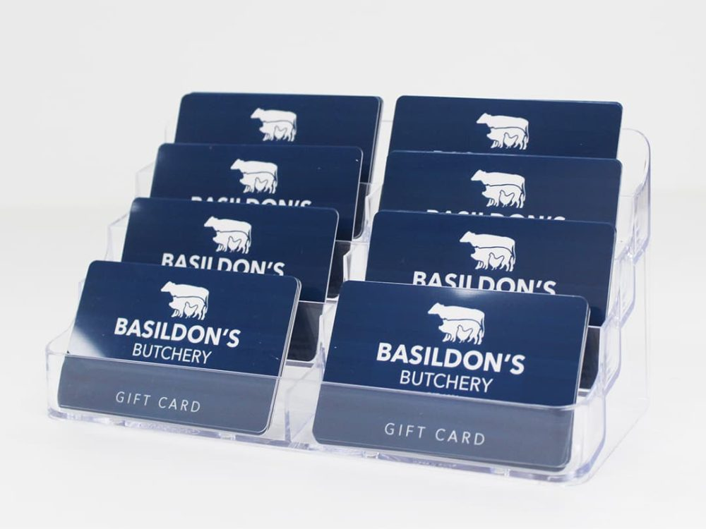 gift cards inside 8 compartment gift card display