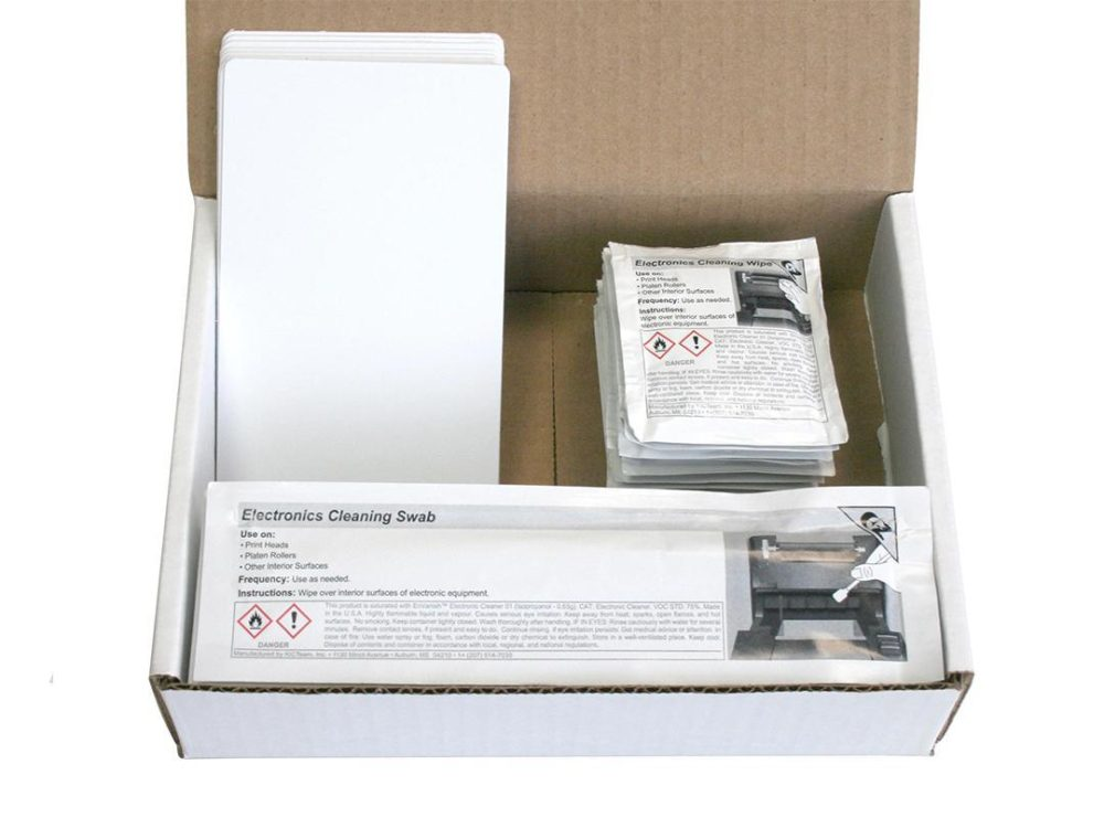 magicard cleaning kit in box with cleaning pads and cleaning cards