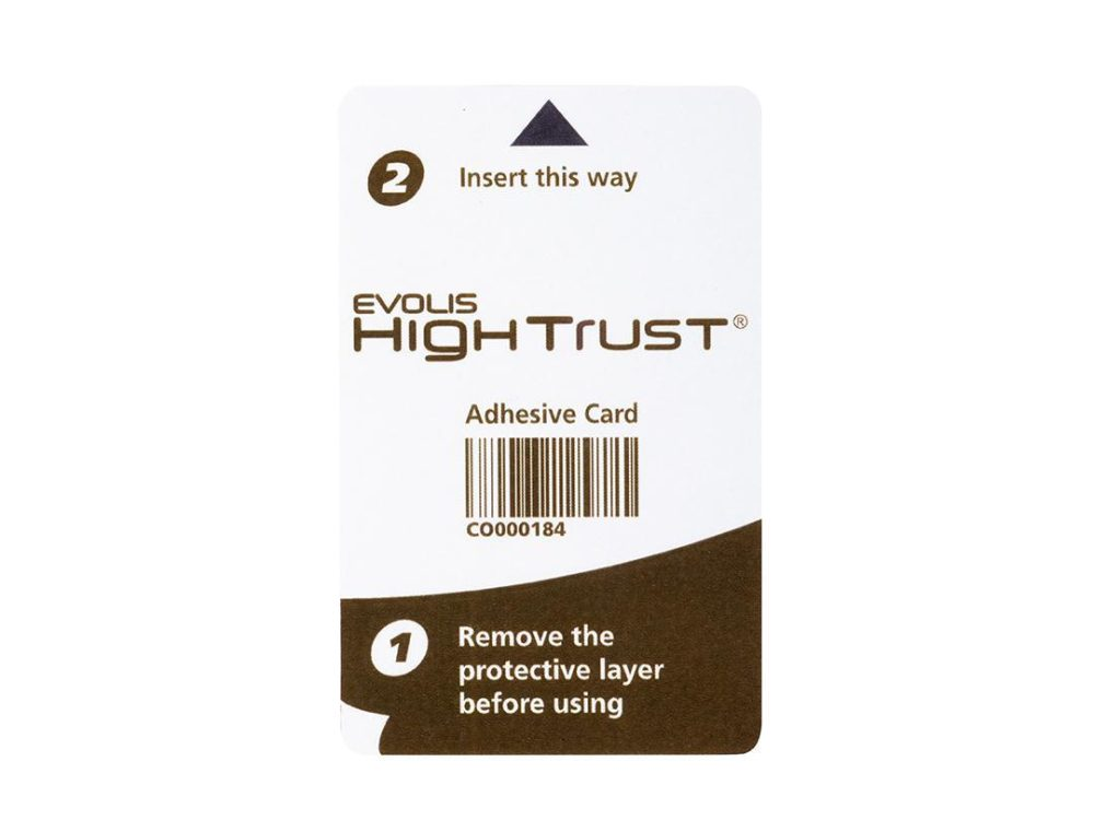 evolis adhesive card