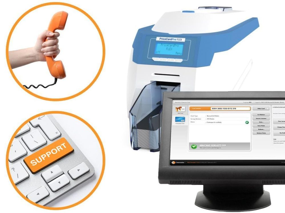 pricecardpro printer with merchant's terminal, phone and support