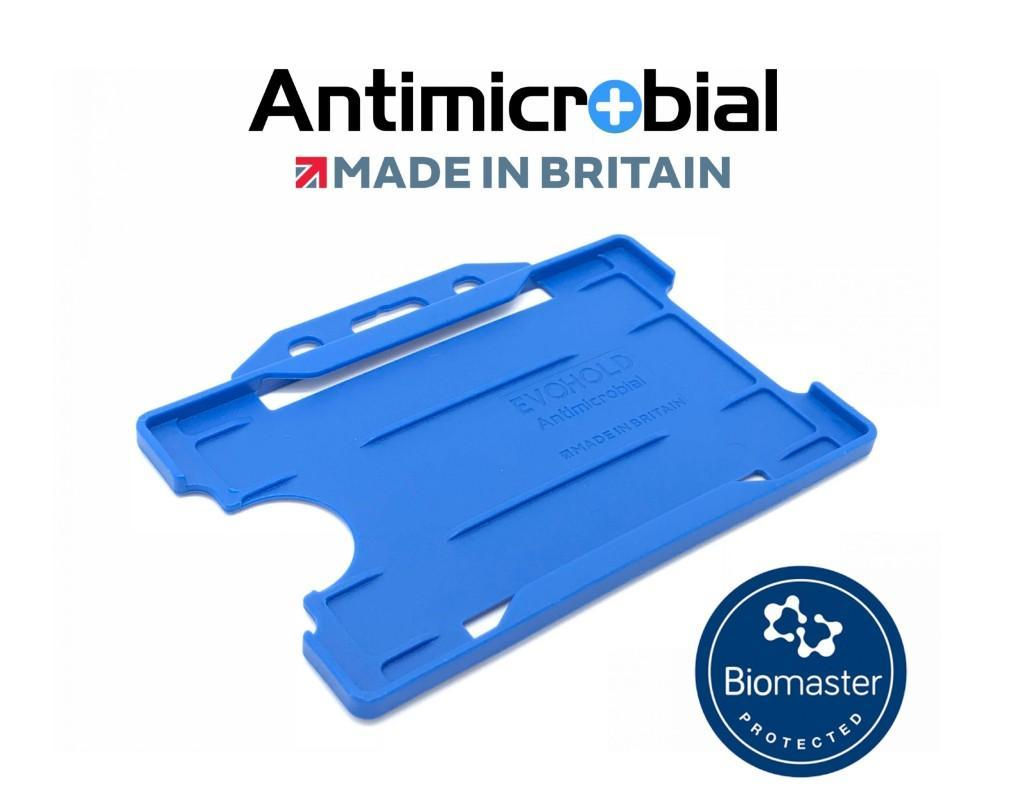 blue antimicrobial single sided card holder