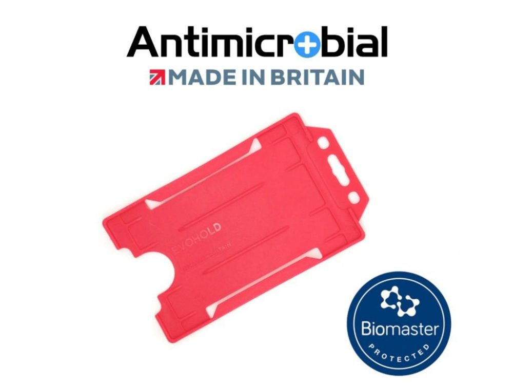 red antimicrobial single sided card holder