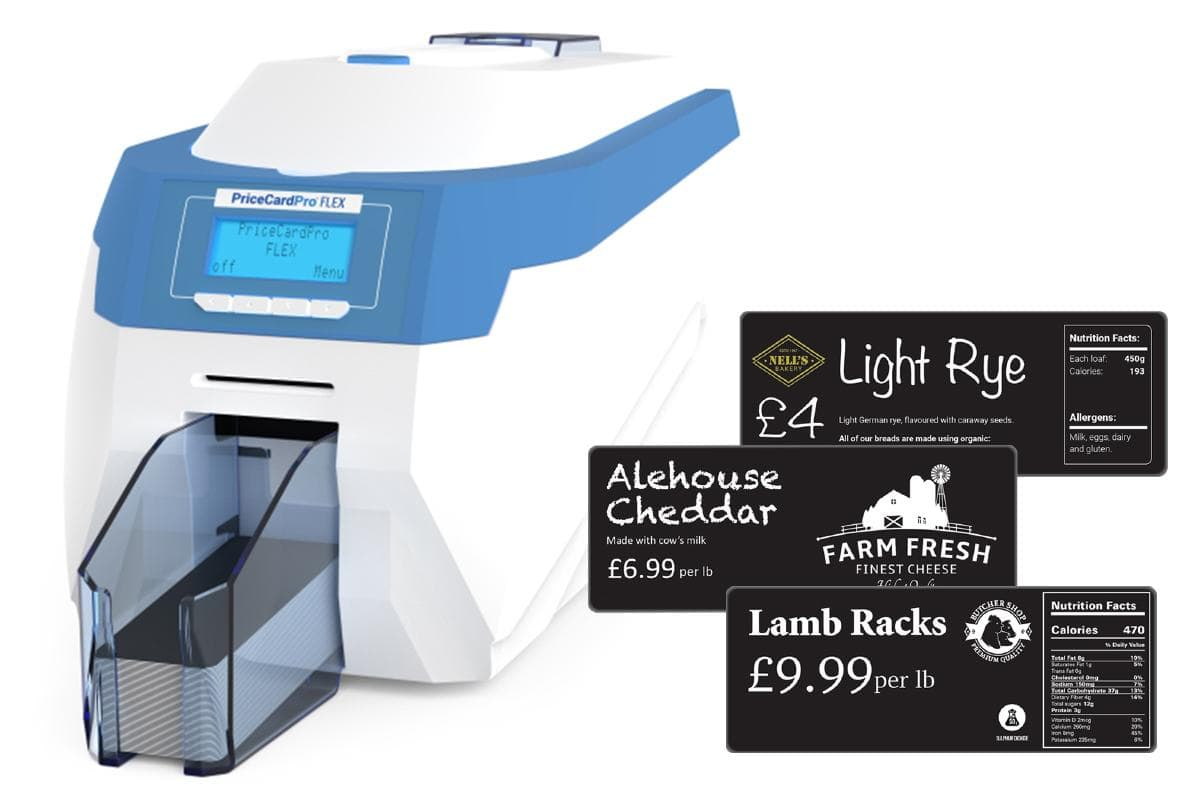 PriceCardPro Flex Xtended card printer with long price signs