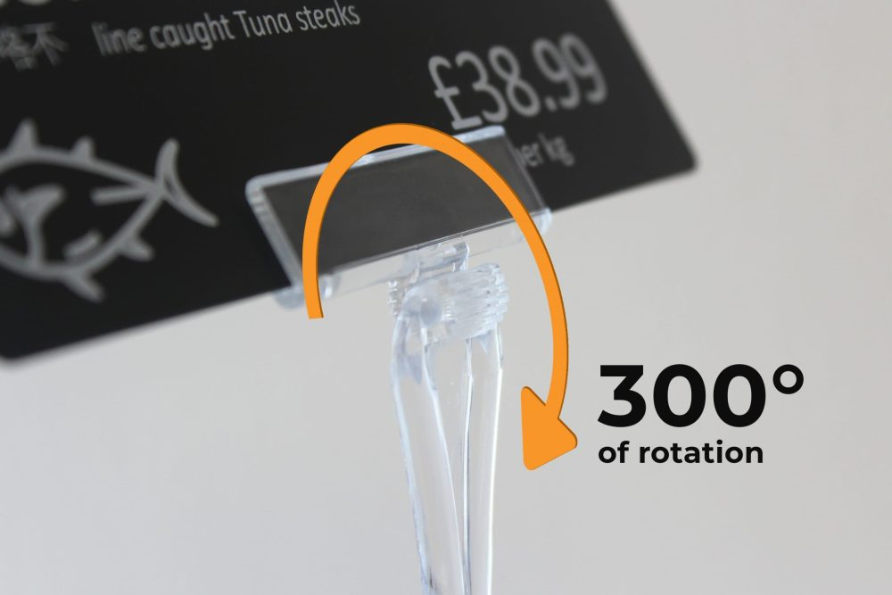 720-1004 ratchet price sign stand has 300 degrees of rotation