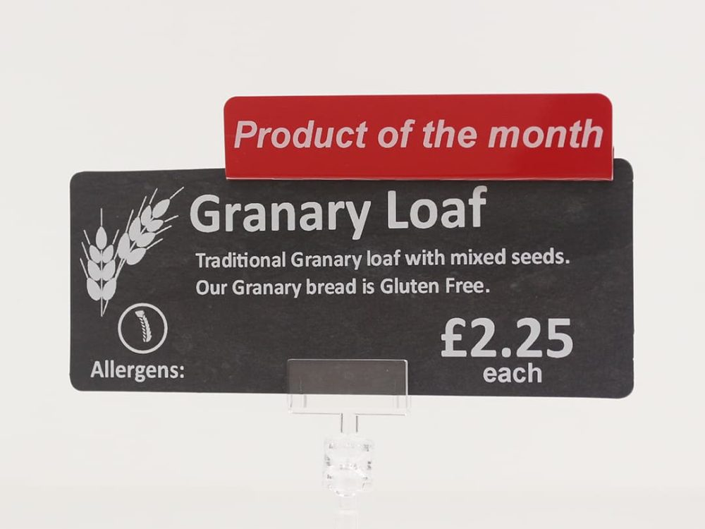 Product of the Month Topper on a Price Sign