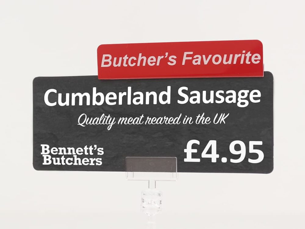 Butcher's Favourite Topper on a Price Sign