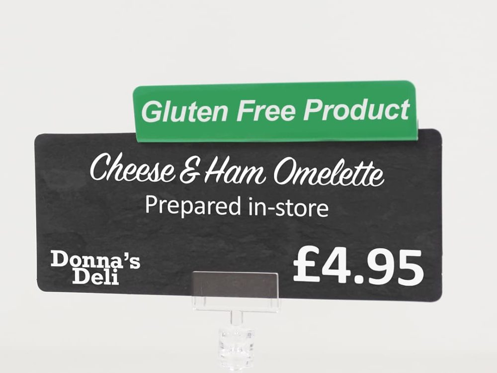 Gluten Free Product Green Topper on a Price Sign