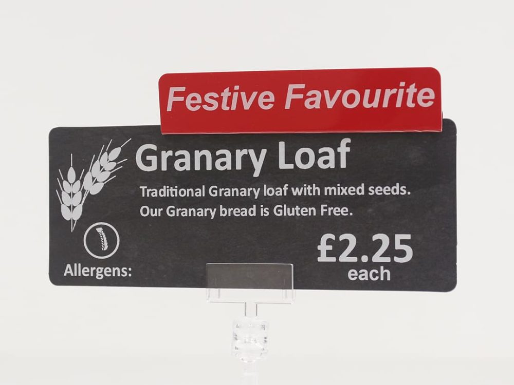 Festive Favourite Topper on a Price Sign