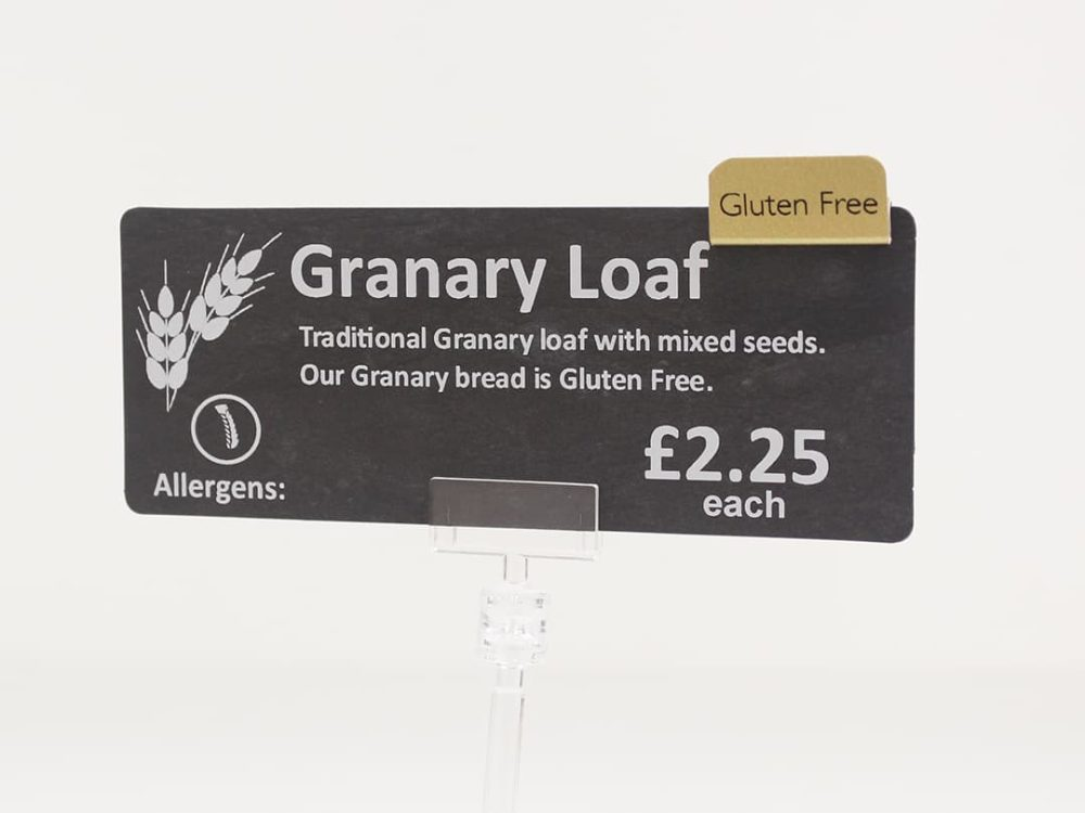Gluten Free Tag on a Price Card