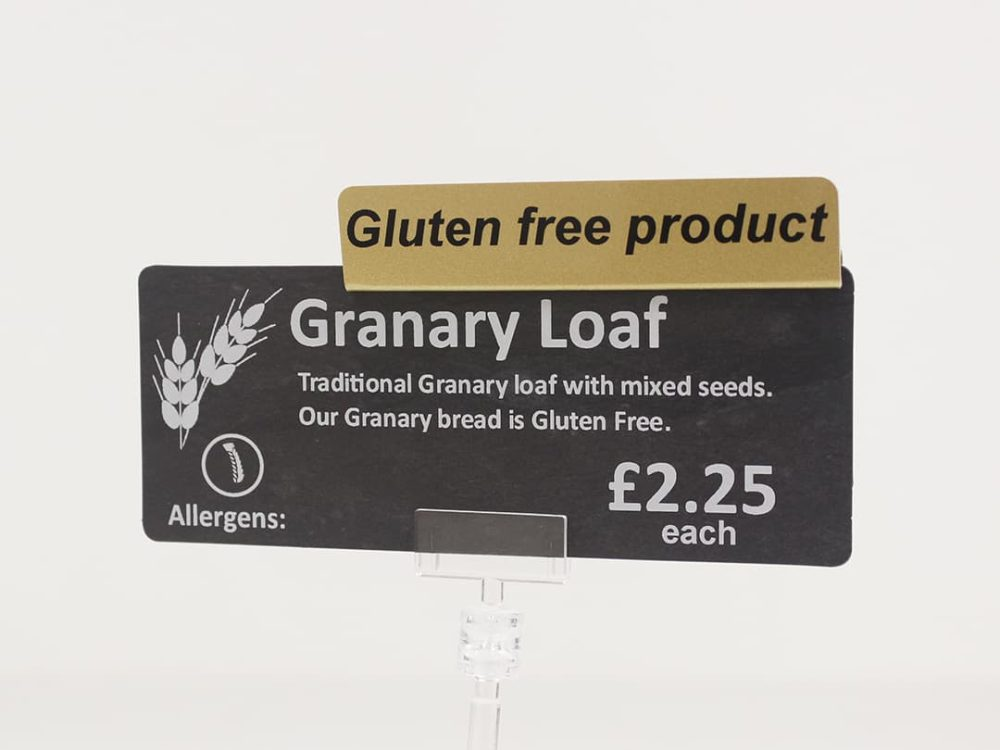 Gluten Free Product Topper on a Price Sign