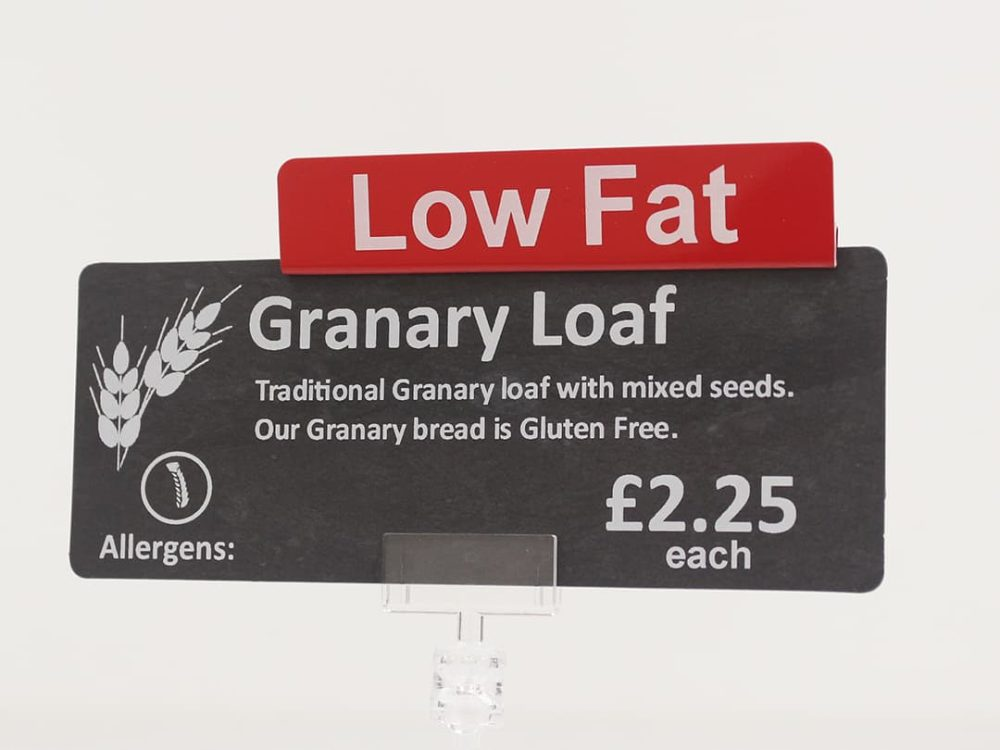 Low Fat Topper on a Price Sign