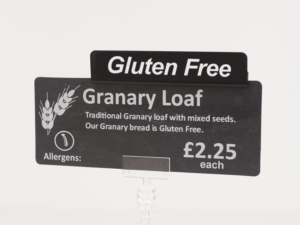 Gluten Free Card Topper on a Price Sign