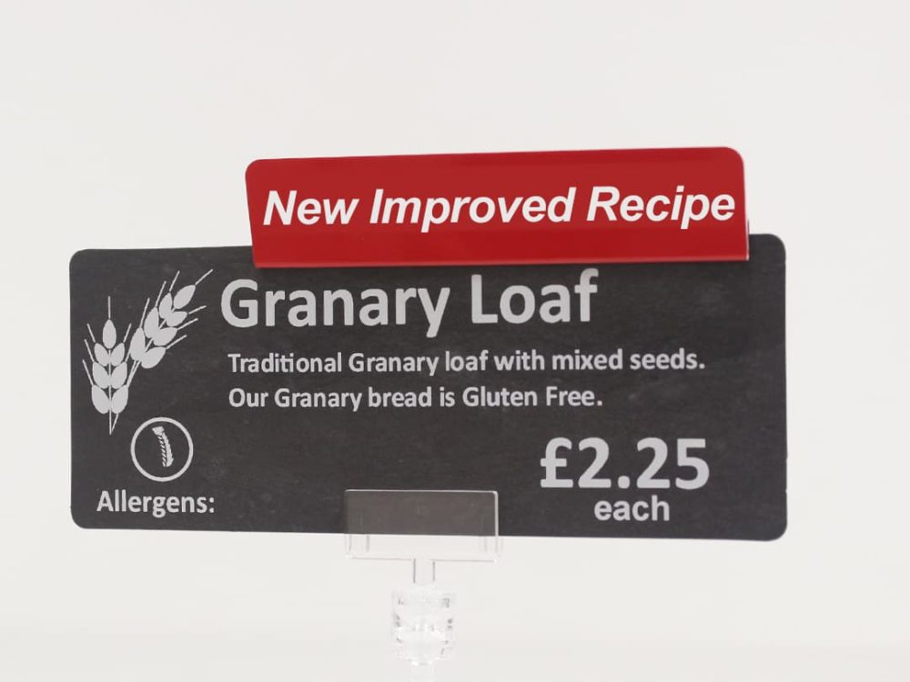 New Improved Recipe Topper on a Price Sign