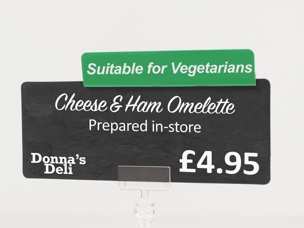 Suitable for Vegetarians Topper on a Price Sign