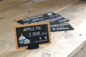 Apple pie price sign