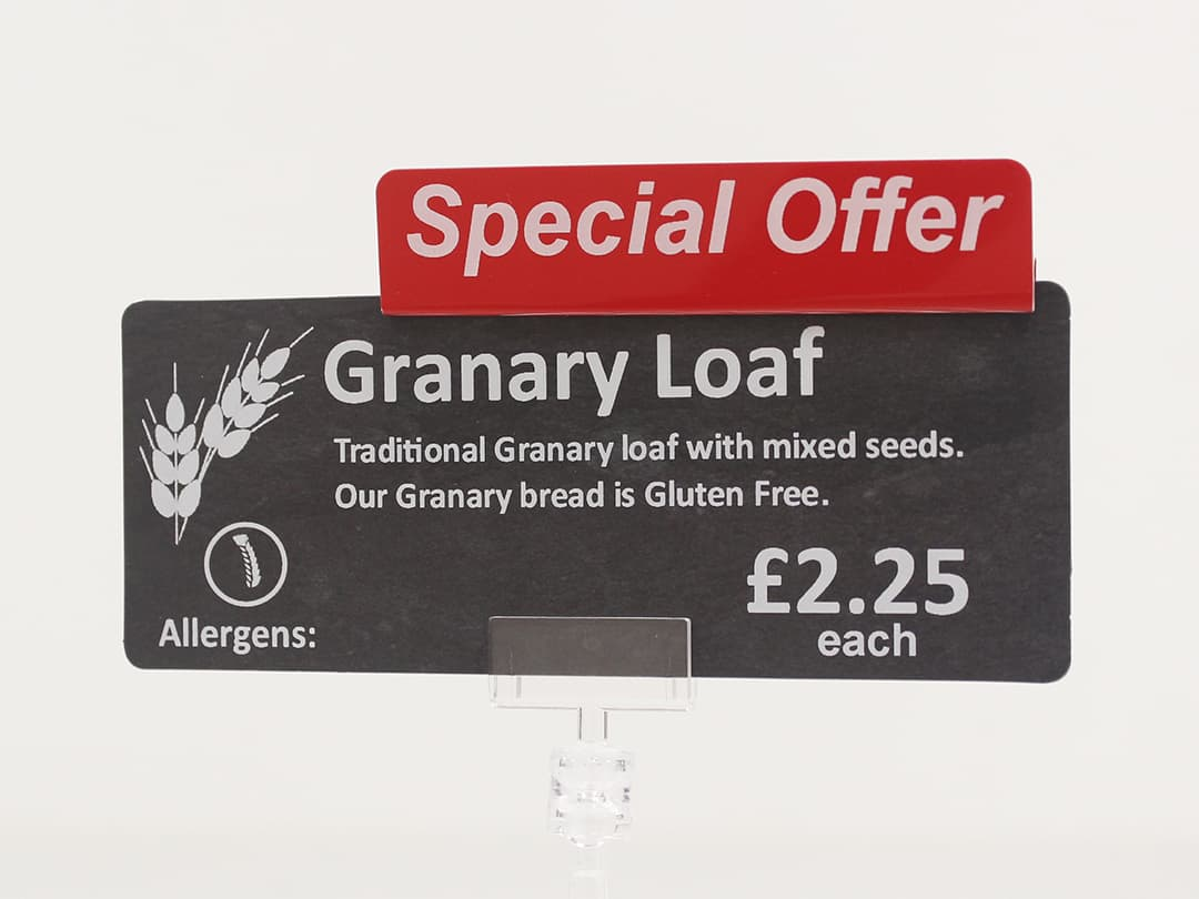 Special Offer topper attached to price sign