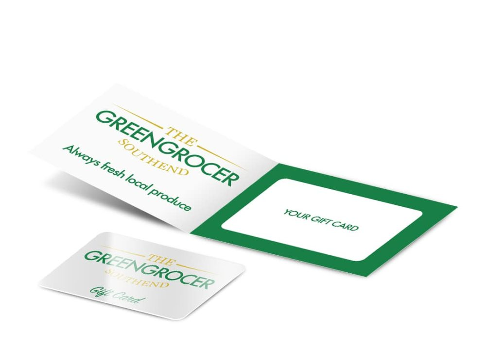 Gift card and Gift carrier displayed for Greengrocer gift card carrier 210 x 74mm