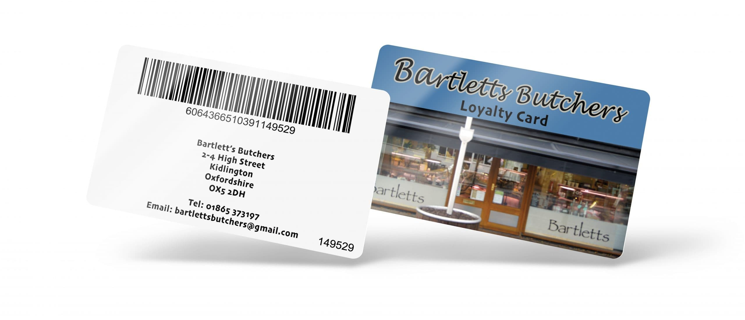 Bartlett's Butchers Loyalty Card Front and Back