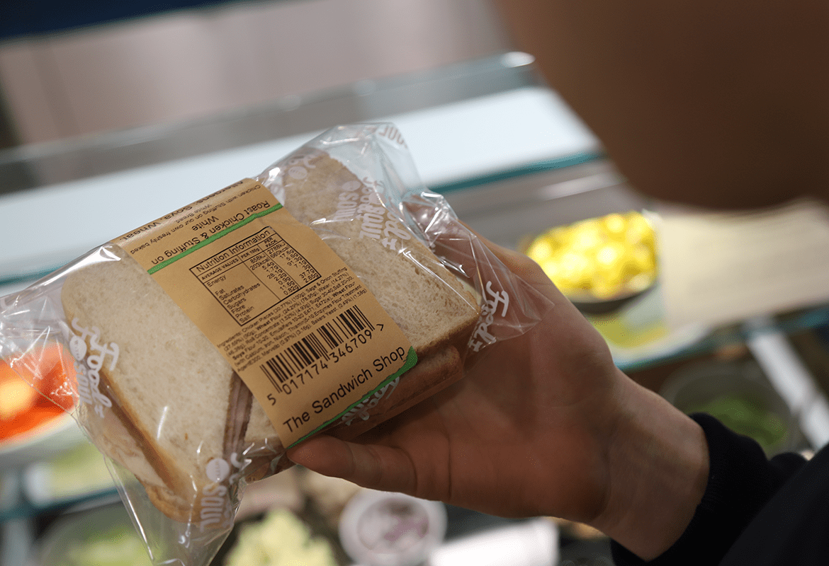 Allergens listed on sandwich packaging in-store