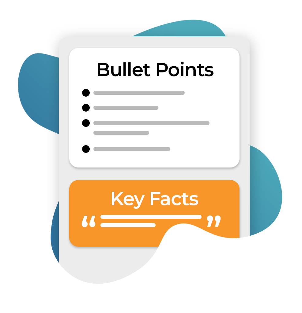 Emails should have concise bullet points and key facts