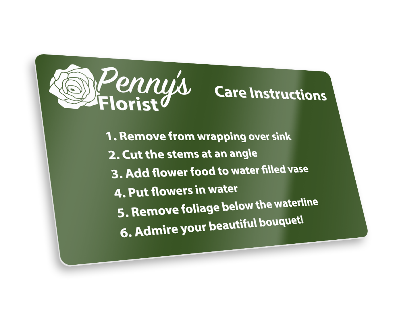 Flower care instructions card