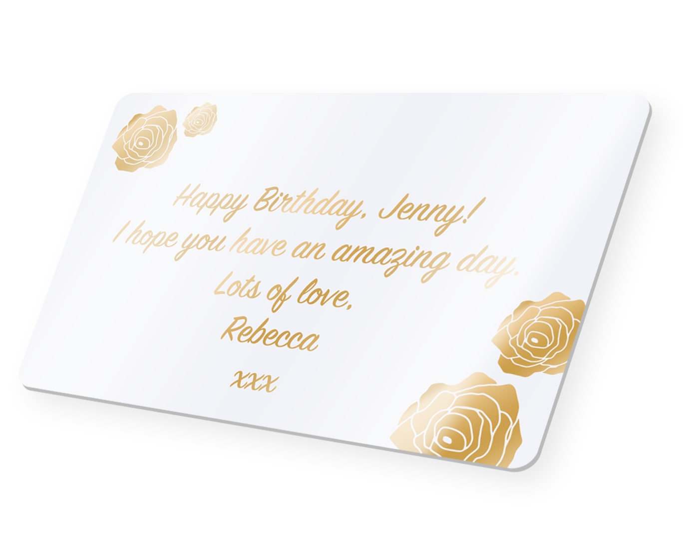 Personalised message card for flower bouquets