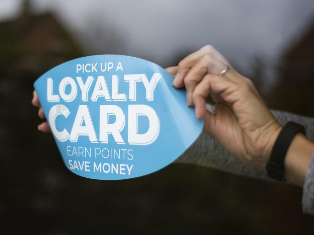 Applying a blue loyalty window sticker