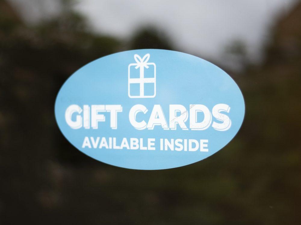 Blue gift window sticker