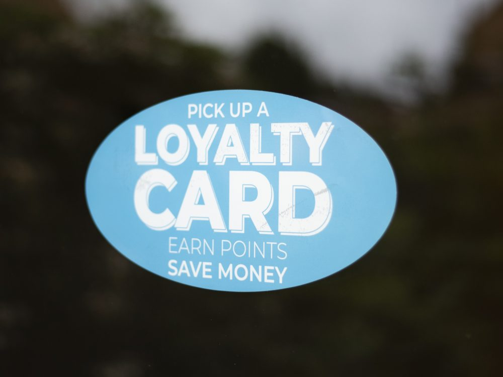 Blue loyalty window sticker