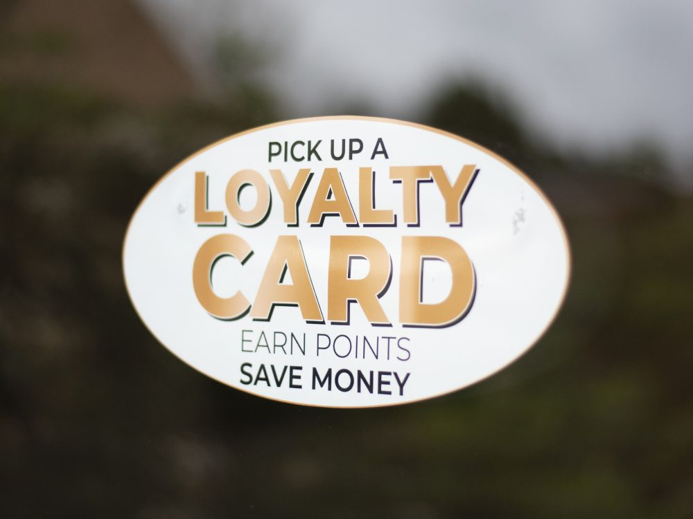 Gold loyalty window sticker