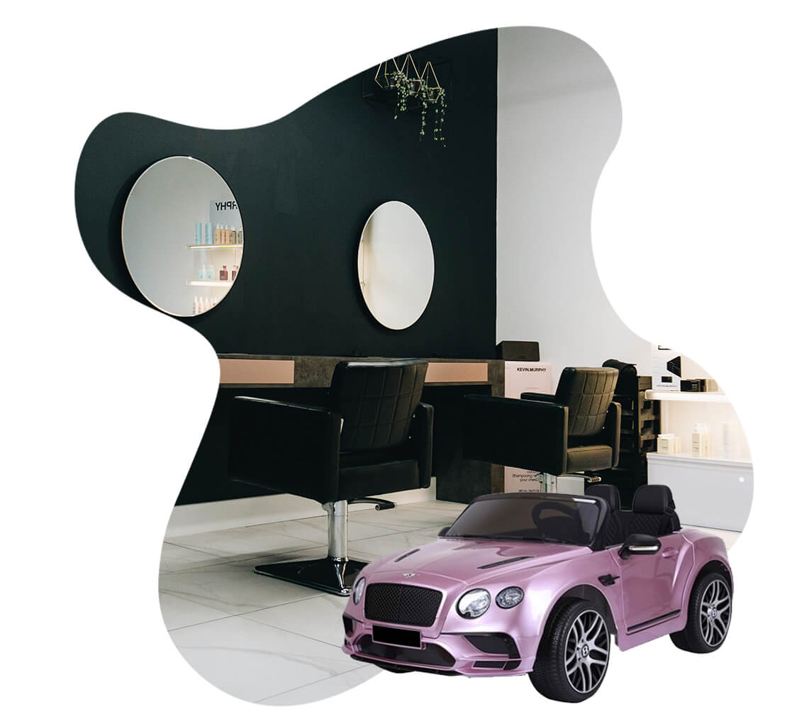 Salon with kids car to attract business from parents