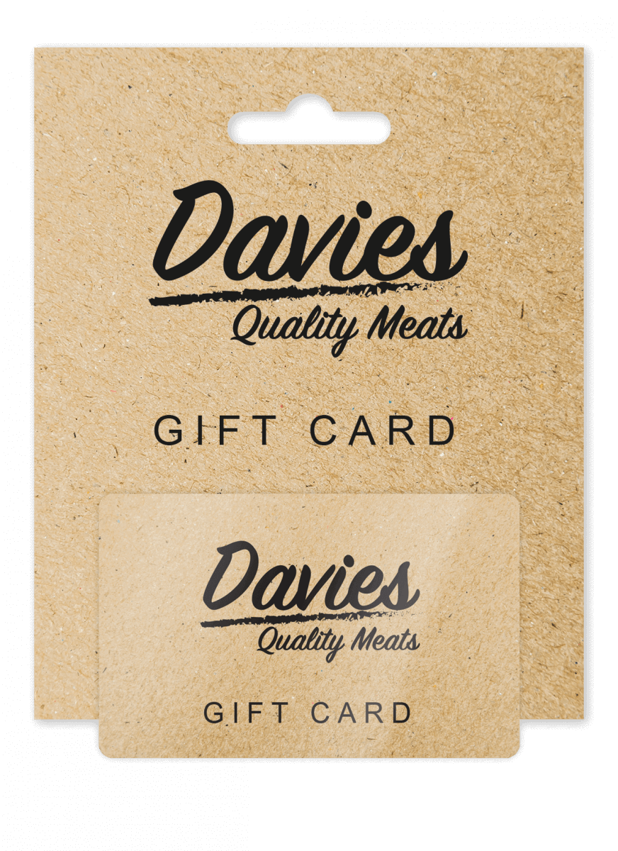 Butchers gift card and card carrier