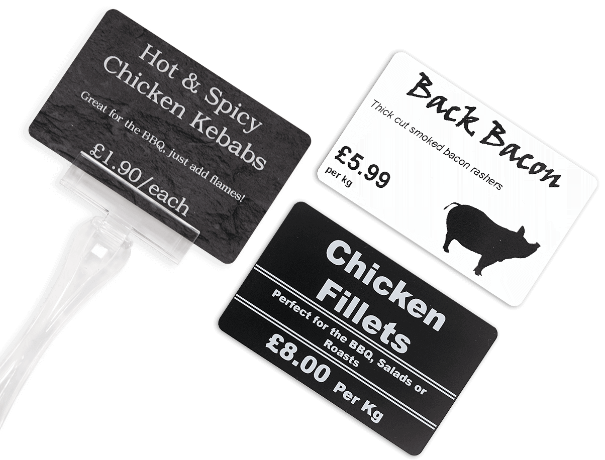 Variety of butcher's price signs
