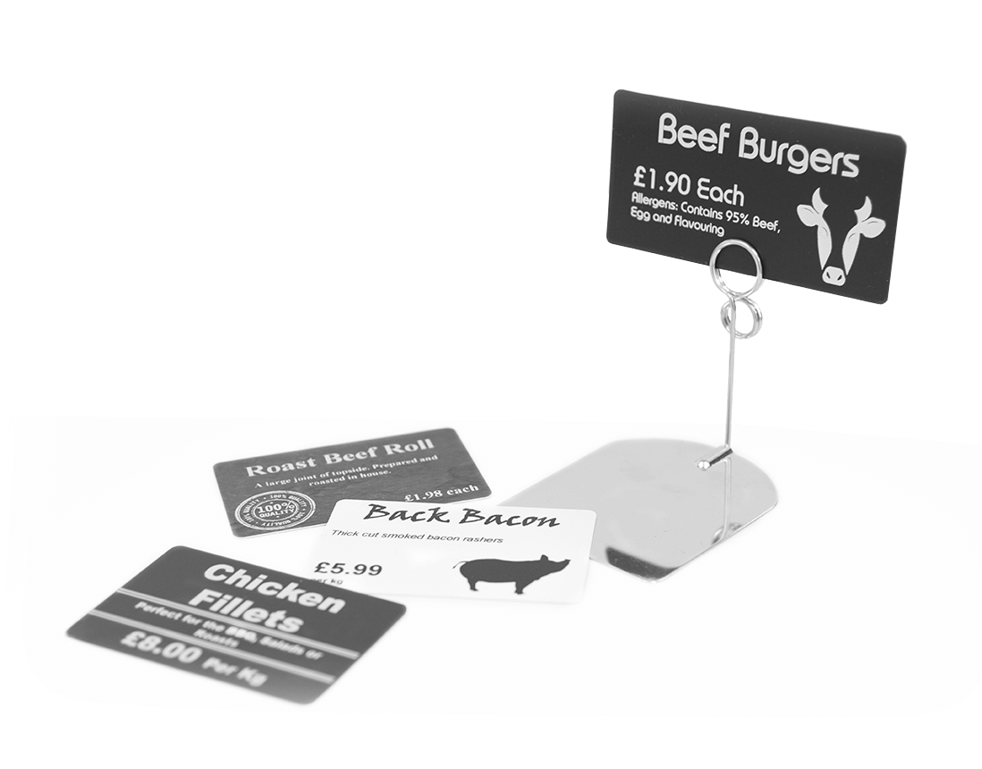 Plastic price signs with metal stand for butchers