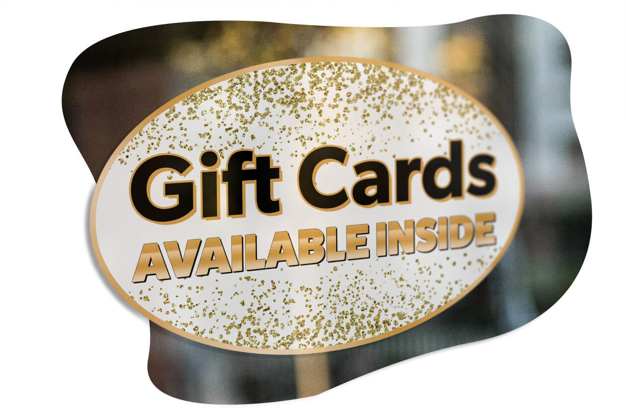 Gift cards available window sticker for shops
