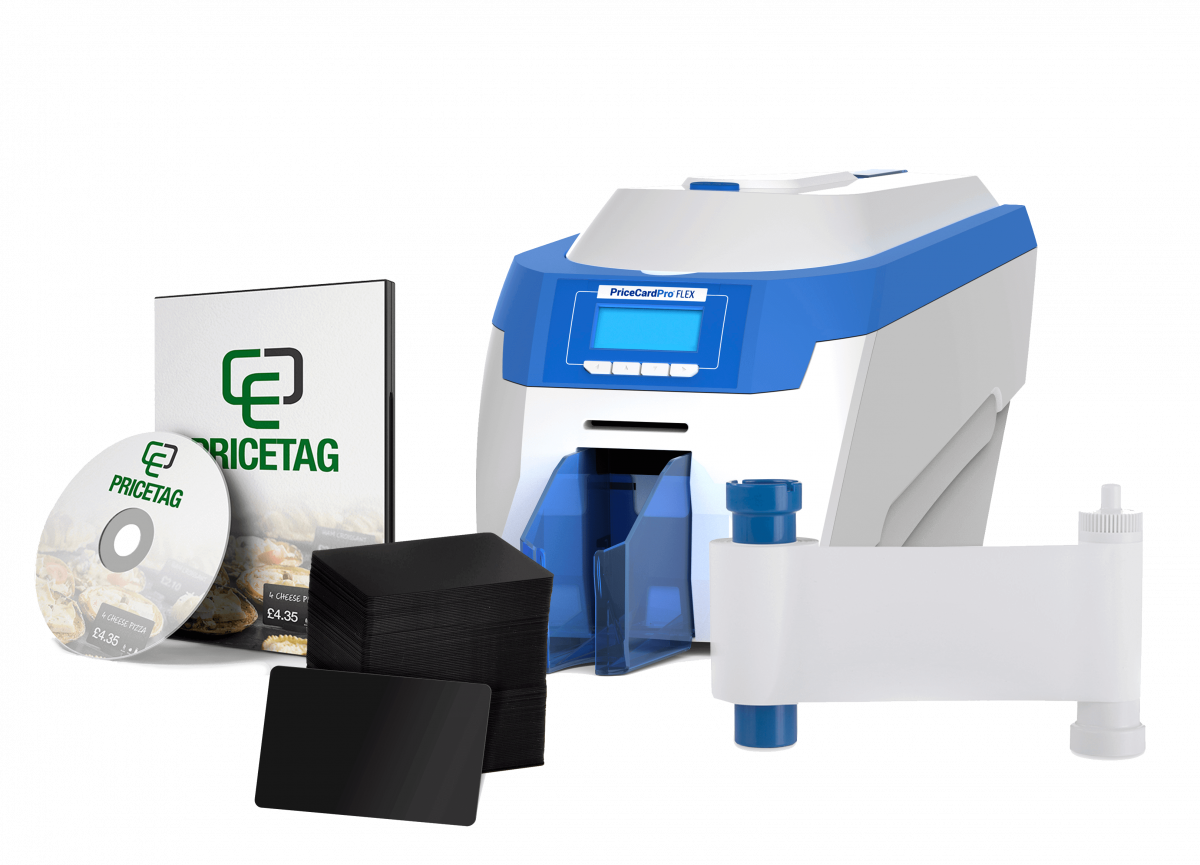 PriceCardPro Flex printer with bundle contents