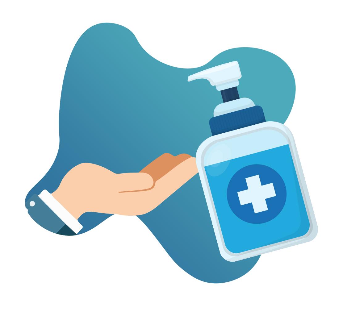 Hand sanitiser being applied