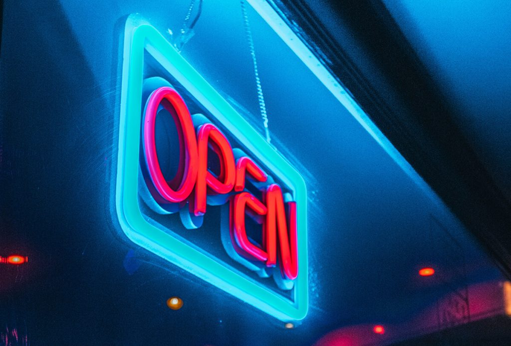 Neon open sign to attract attention