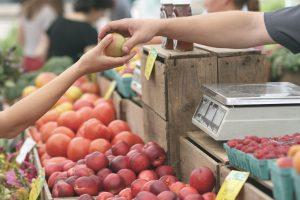 Handing over fruit