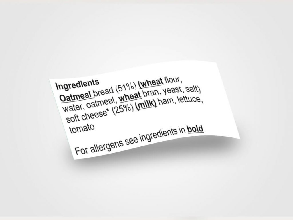 Ingredients label with allergens highlighted