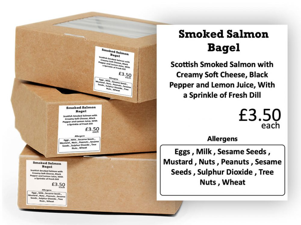 Ingredients labels attached to packaging