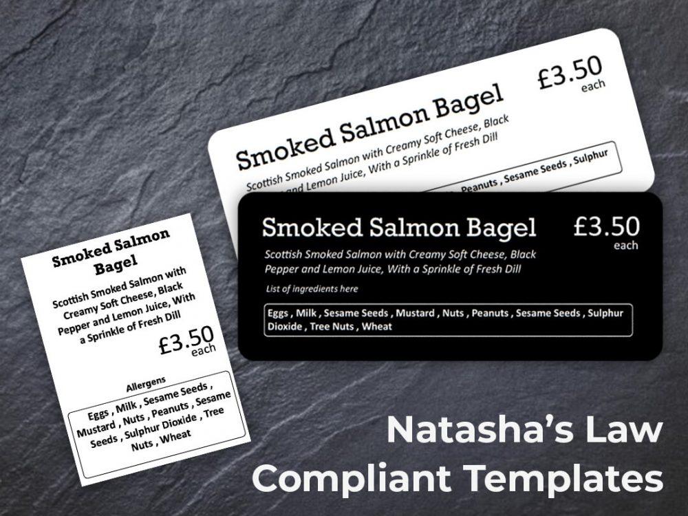 Natasha's Law compliant PriceTag templates