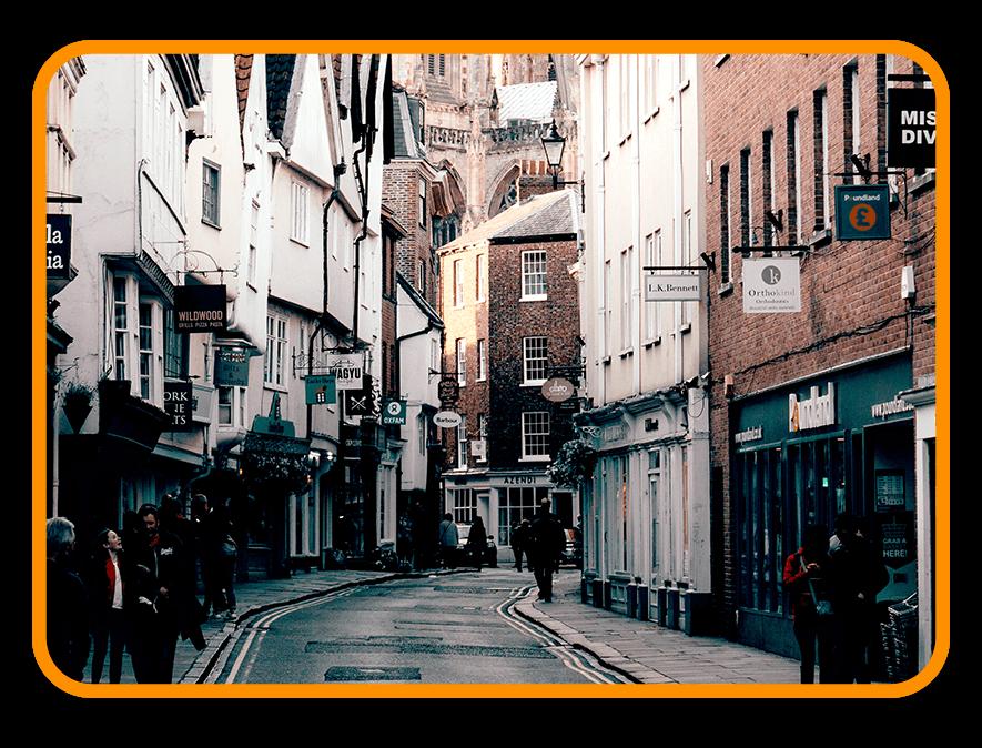 Quiet UK high street shops