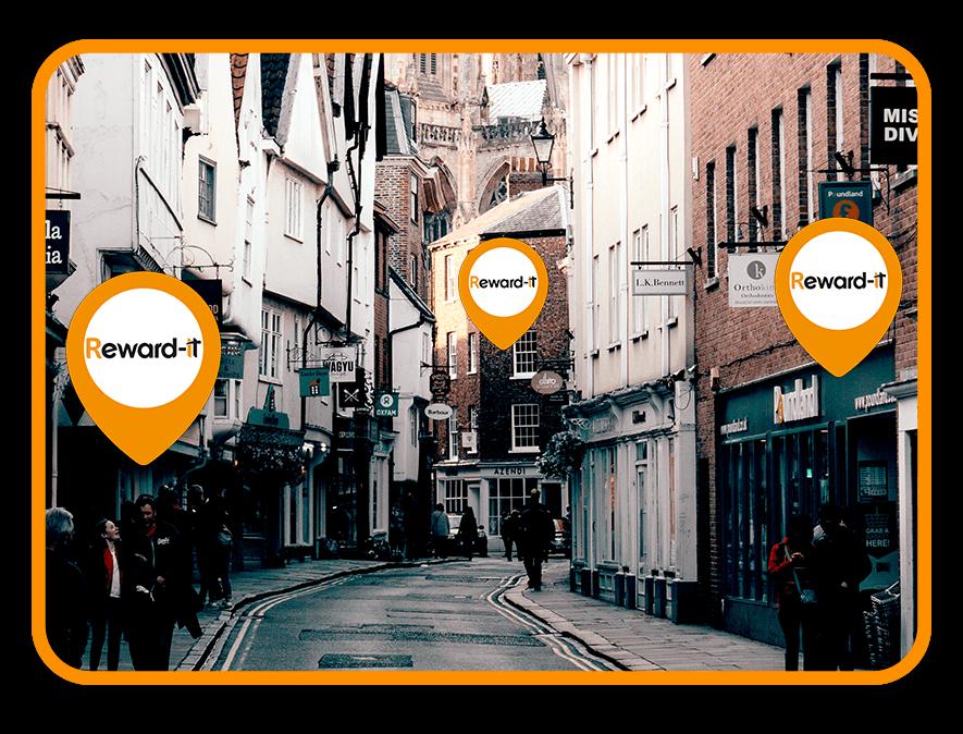 High street shops using town card