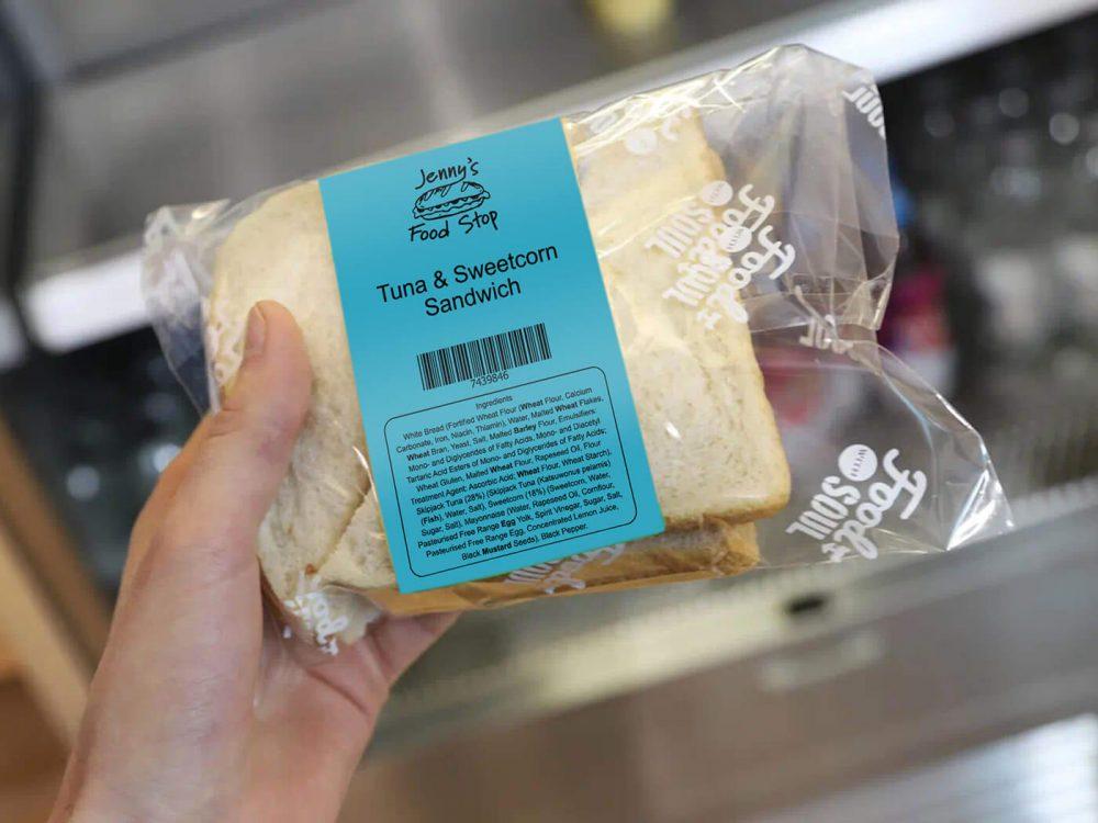 Blue printed label on PPDS food