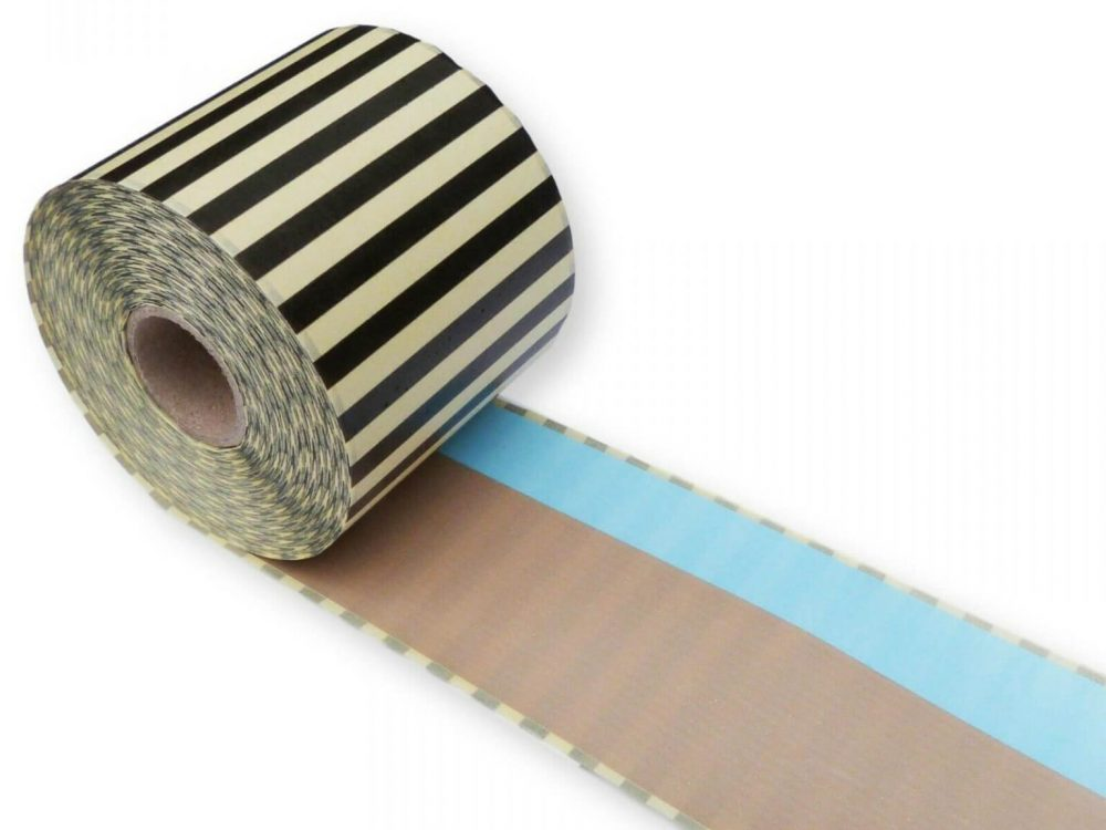 Brown and blue 62mm x 30m continuous label