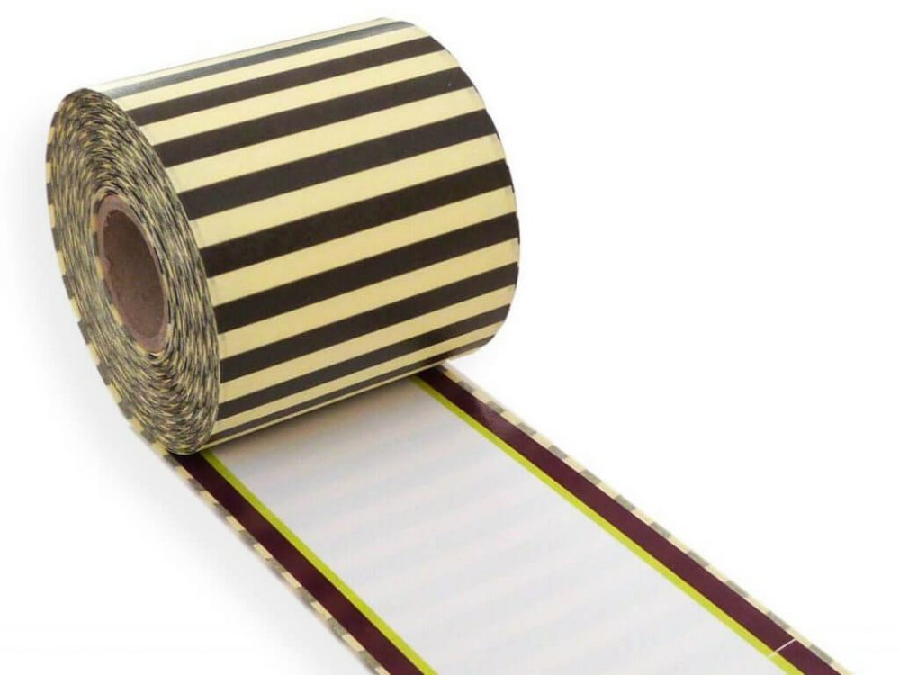 Burgundy and green border 62mm x 30m continuous label