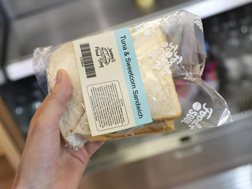 Cream and blue printed label on PPDS food