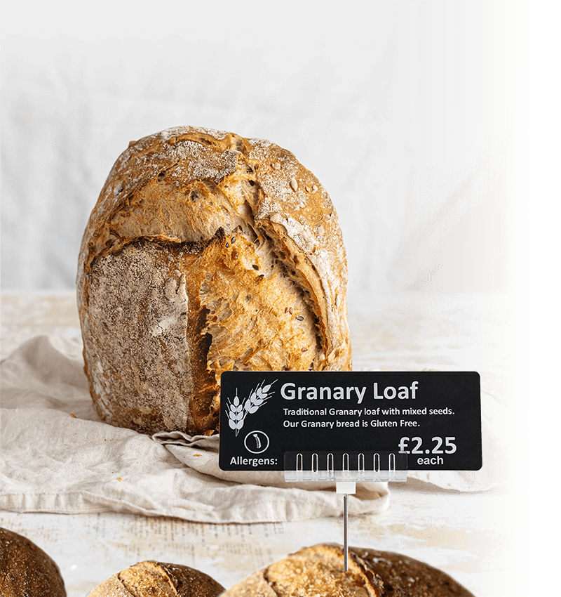 Granary loaf with price ticket